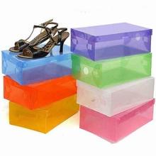 1pc Empty Foldable Shoebox Plastic Transparent Toughness Shoebox Clean Container Shoe Organizer Storage Multicolor Shoe Box