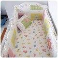 Promoción! 6 unids lecho del pesebre del bebé cama paquete 100% algodón pieza juego de cama alrededor ( bumpers + hojas + almohada cubre )