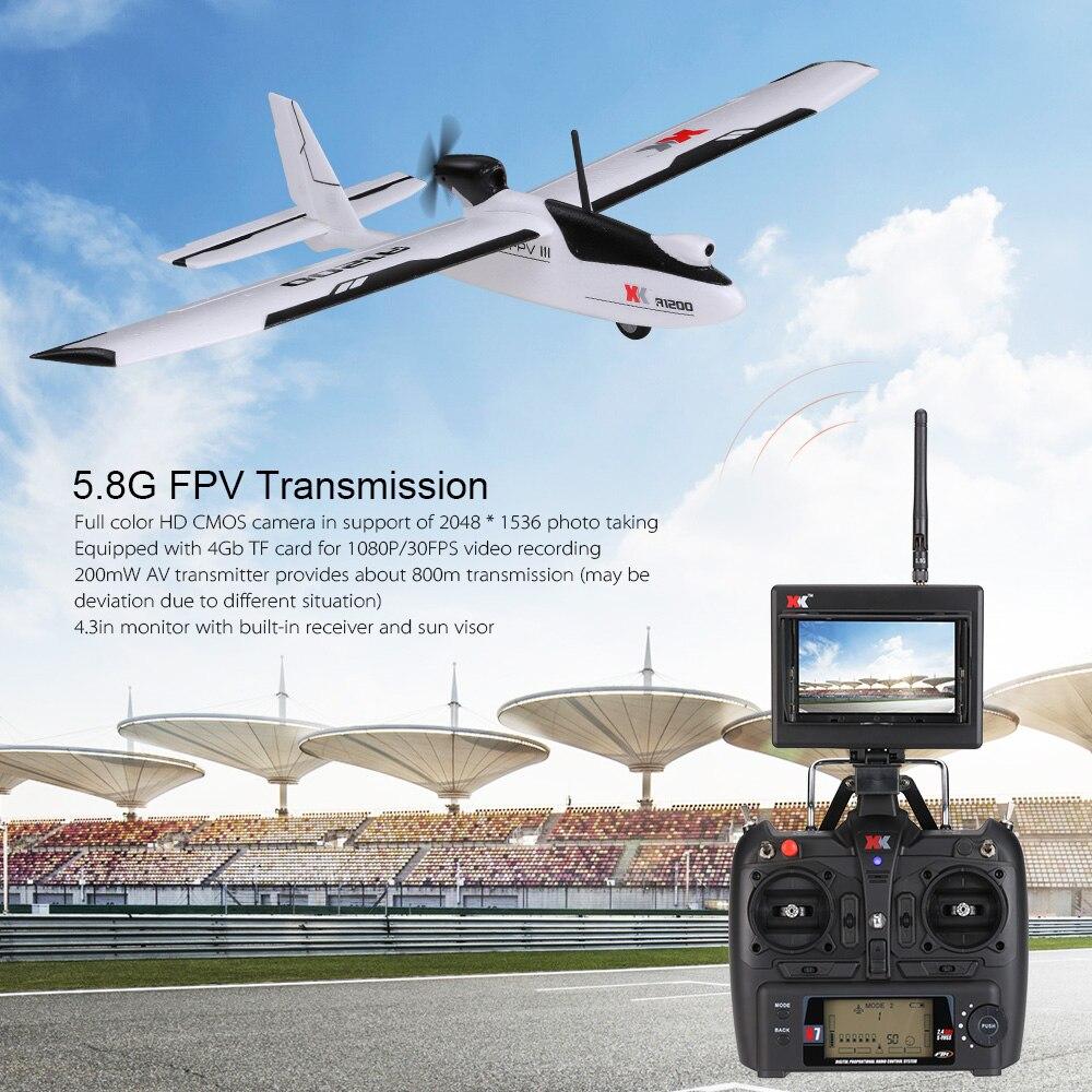 Wltoys xk a1200 rc avión con 5.8g fpv cámara aeromodelo planeador aviones no tri