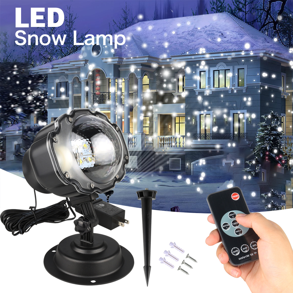 Mini Snowfall Projector IP65 Moving Snow Outdoor Garden Laser Projector Lamp Christmas Snowflake Laser Light For Xmas Party недорого