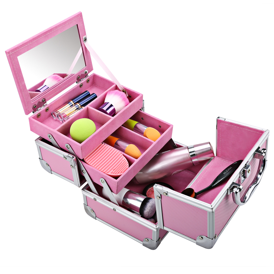 HOMDOX Mini Portable Extendable Makeup Train Case Aluminum Cosmetic Box Makeup Storage Brush ...