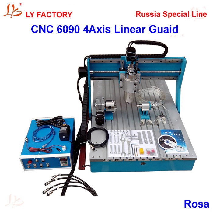 Russia Special Line, No Tax! CNC Router 6090 4 Axis with Linear Guide Rail 1.5KW Water-cooling Spidle Motor VFD ly cnc router 6090 l 1 5kw 4 axis linear guide rail cnc engraving machine for woodworking