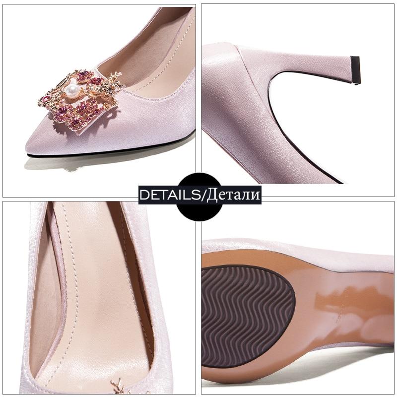 Shallow Kiss femminile Satin alti Primavera Wet punta scarpe 2019 cristallo Rosso Champagne sposa Donna Donna con da in Perla a Tacchi Pompe punta 6w6qRZxTr