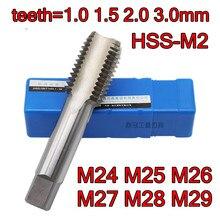 M24 M25 M26 M27 M28 M29 diş = 1.0 1.5 2.0 3.0mm HSS M2 Makinesi dokunun Işleme: çelik Ücretsiz nakliye