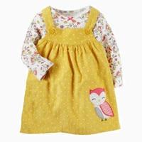 2Pcs Flower Girls Dresses Spring 2018 Cotton Girl Princess Dress Cartoon Owl Children Dresses Vestidos Long