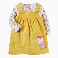2Pcs Flower Girls Dresses Spring 2018 Cotton Girl Princess Dress Cartoon Owl Children Dresses Vestidos Long