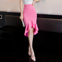 2016 New Women S Flounce Slim Fishtail Ruffles Skirt High Waist Bag Hip Skirts Solid Color