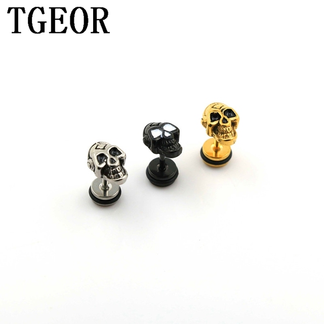free shipping NEW ARRIVAL illusion cheaters 30pcs Stainless Steel retro drop oil skull with Headsets piercing fake plugs