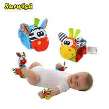 Surwish One Pair Baby Rattles Soft Plush Toy Wrist Band Watch Band Bed Bells Baby Hand