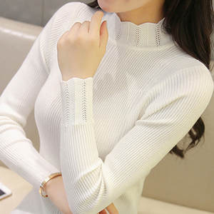 2018 New hot sale winter  Korean lace semi high collar long sleeves  knitted sweater high elastic sweater