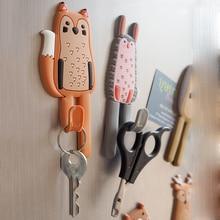 Милые Животные Магнитные Крючки съемные декоративные наклейки на Холодильник сообщение на холодильник магнит вешалка держатель для ключей крючок для хранения