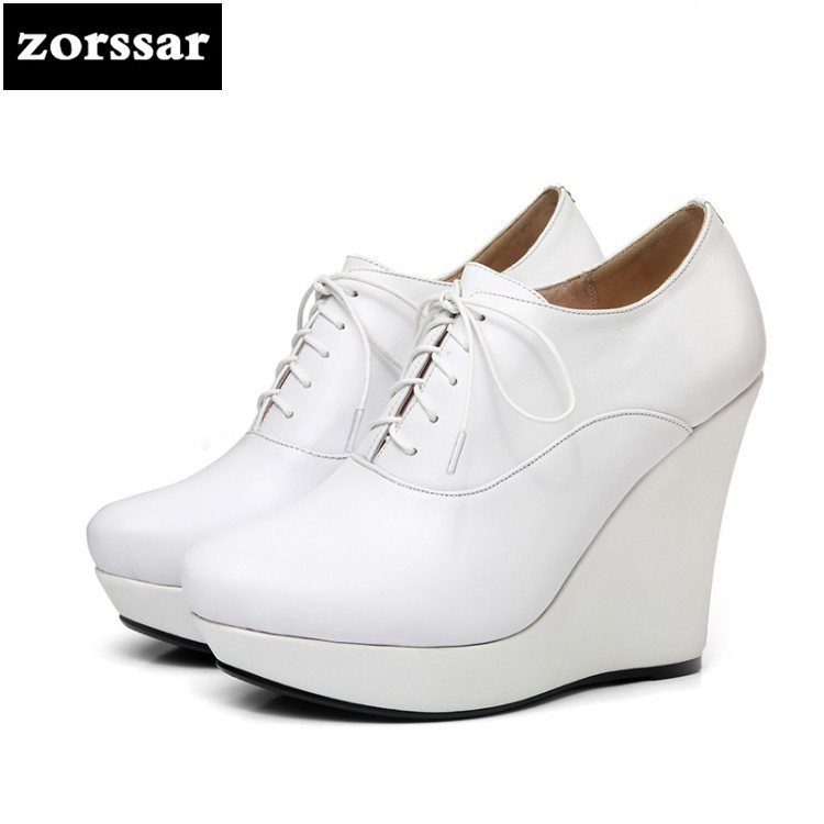 {Zorssar} 2018 New Genuine Leather womens heels Wedges platform pumps pointed toe High heels fashion women shoes Lace-up fashion genuine leather shoes woman pumps 2016 new sexy wedges high heels round toe lace up women casual party shoes size 34 39