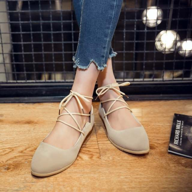 84df4c0b7388 Online Shop Women Ballet Flat Shoes Pointy Toe Suede Lace Up Sweet Girls Strappy  ballerina Flats genuine leather moccasins shoes Black Beige