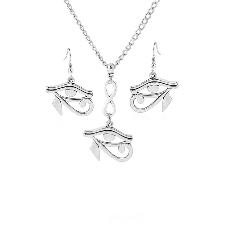 1sets Antique Silver Eye of Horus Ra Charms Pendants Earring & Necklace DIY Jewellery Sets For Women Girls
