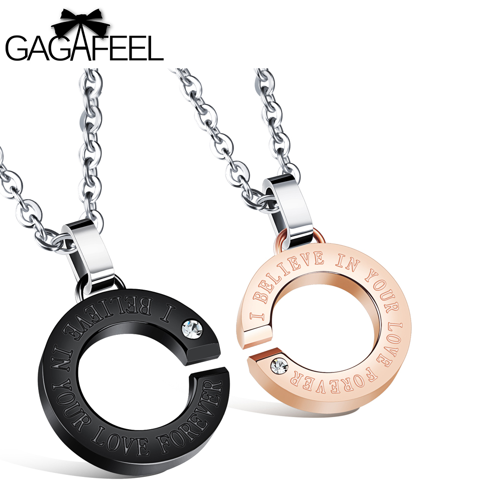 Circle engraving pendants promotion shop for promotional circle gagafeel paired pendants for lovers couple necklace jewelry engrave titanium stainless steel charm double circle pendants mozeypictures Image collections