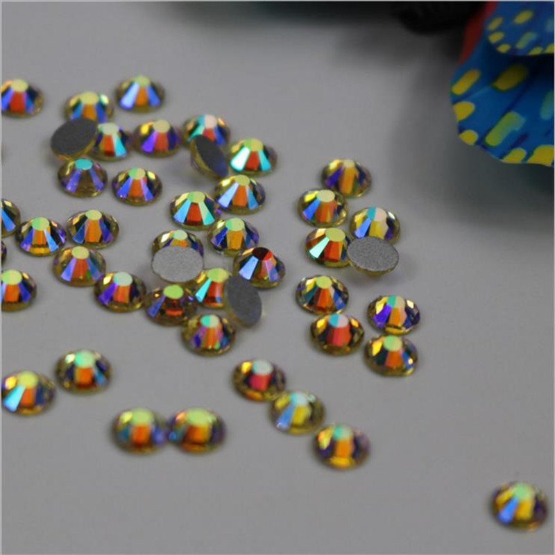 SS3-SS34 Yellow Jonquil AB Non Hotfix Glass Crystal Flatback Rhinestones Nail Rhinestones For Nails 3D Nail Art Decoration Gems 1728pcs clear crystal ab ss3 to ss10 mini sizes nail art non hotfix crystal glass rhinestones nail decoration