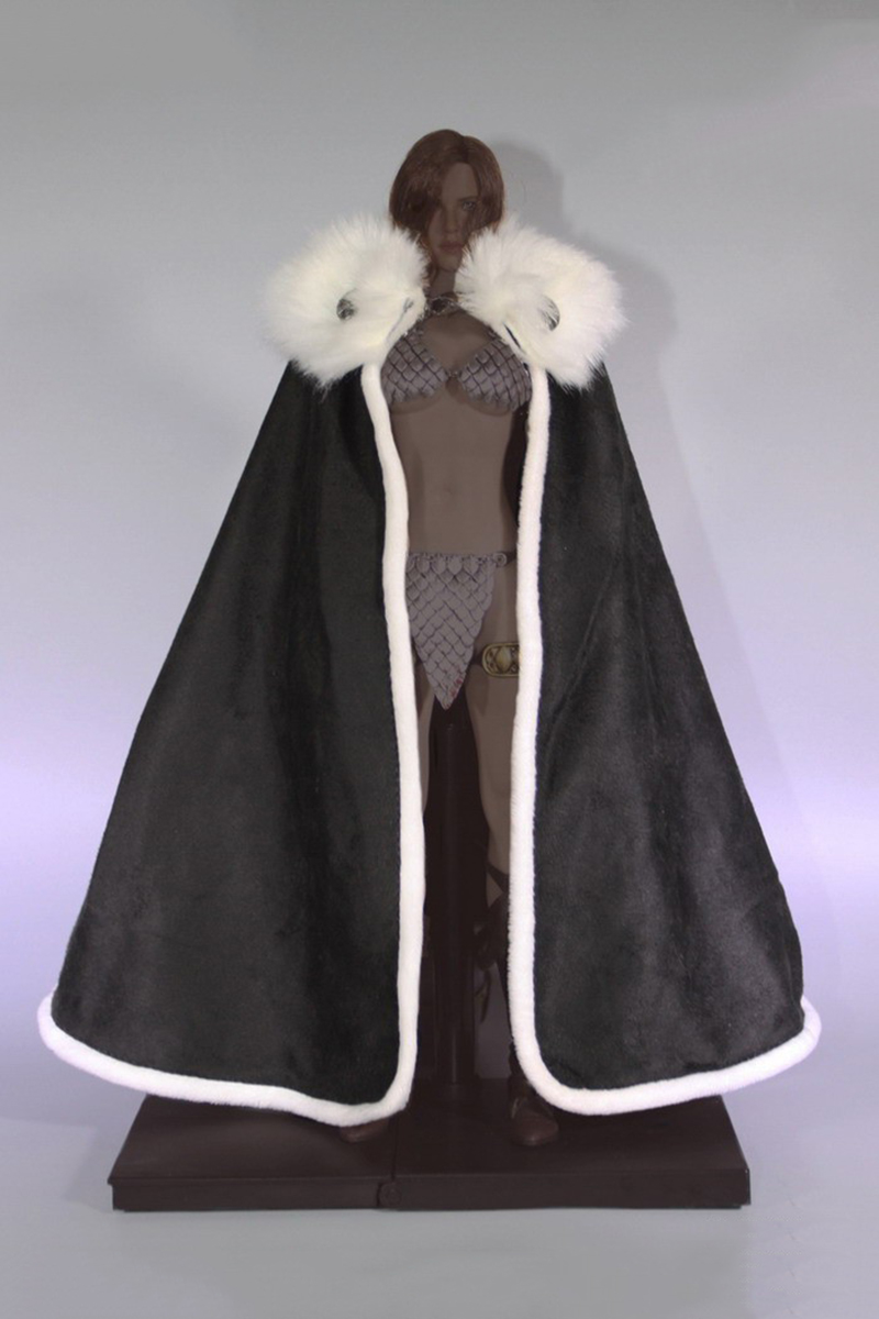 "1:6 Figure Accessory Black With Fur Collar Cloak Cape F 12/"" Male Figure Doll Toy"