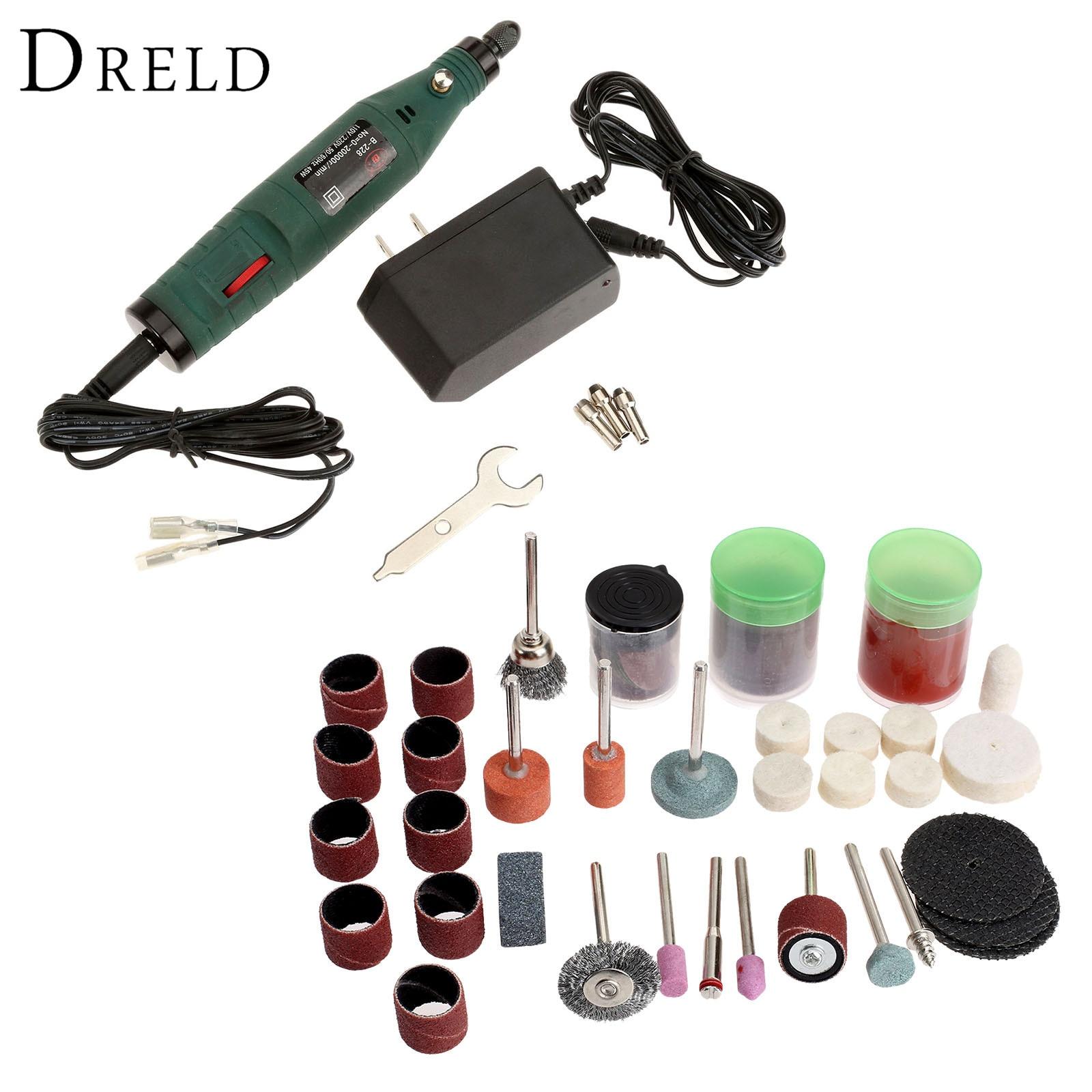 ФОТО DRELD 45W Mini Grinding Machine Electric Drill Die Grinder Electric Tool+105Pcs Grinding Polishing Sanding Tools for Rotary Tool