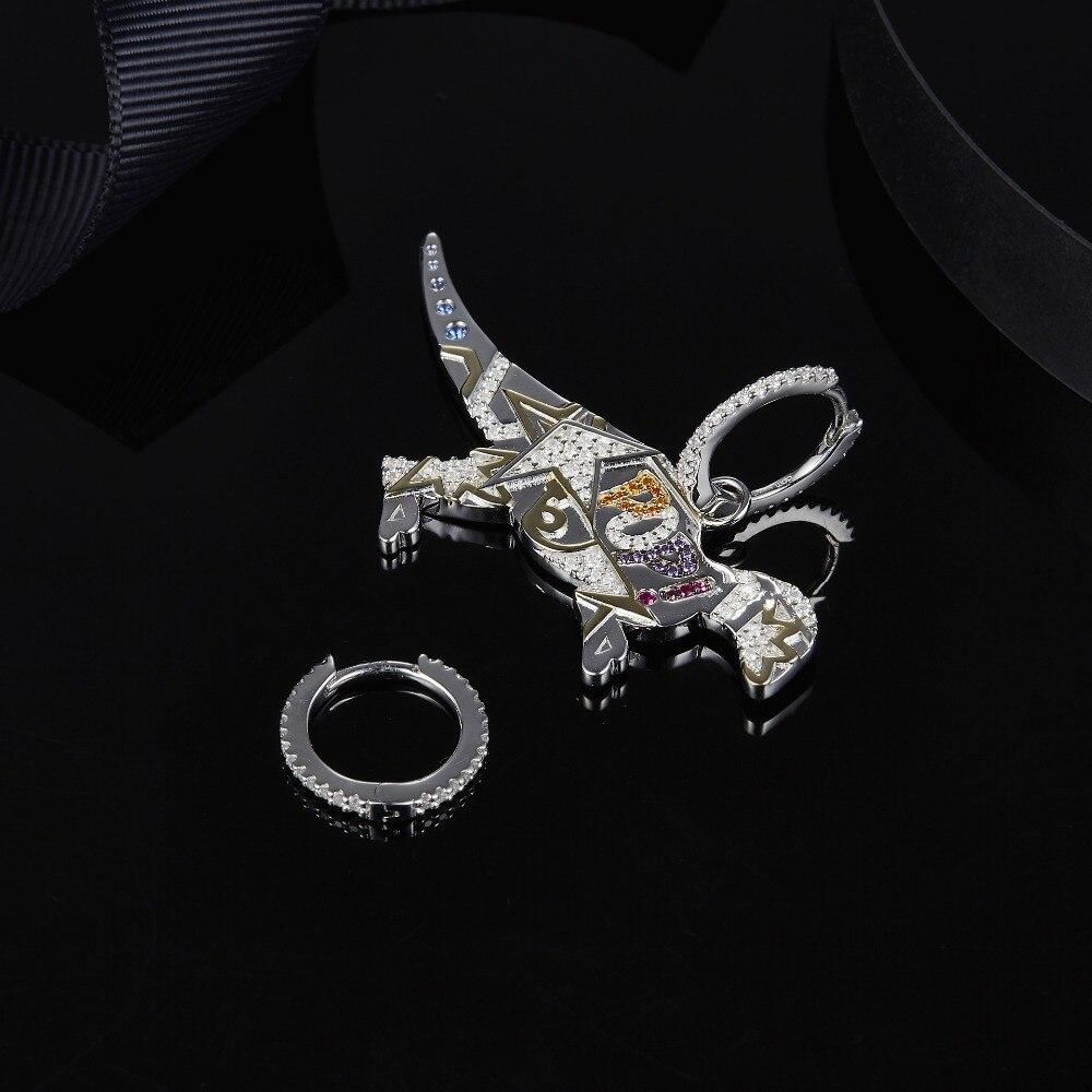 Image 3 - MeiBaPJ 925 Sterling Silver Multicolor Dinosaur Cubic Zirconia  Asymmetric Pop Rexy Dino Earrings Women  April New JewelryDrop  Earrings