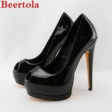 26b75444c5c7 Beertola Luxury Brand Woman Shoes Nude Black Peep Toe Wedding Party Shoes  16cm High Heels Stiletto Platform Women Pumps Tacon