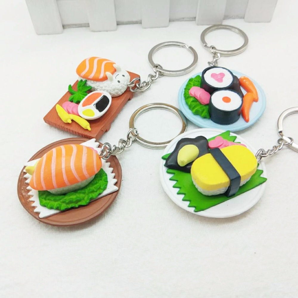 FREE SHIPPING BY DHL 100pcs lot New Hot Japanese Cuisine Sushi Keychains Novelty Food Shaped Keyrings