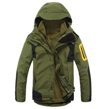 Hiking Jacket Warm Men Winter Inner Fleece Waterproof 3 in 1 Jacket Double Layer Sport Coat Camping Trekking Skiing Jacket стоимость