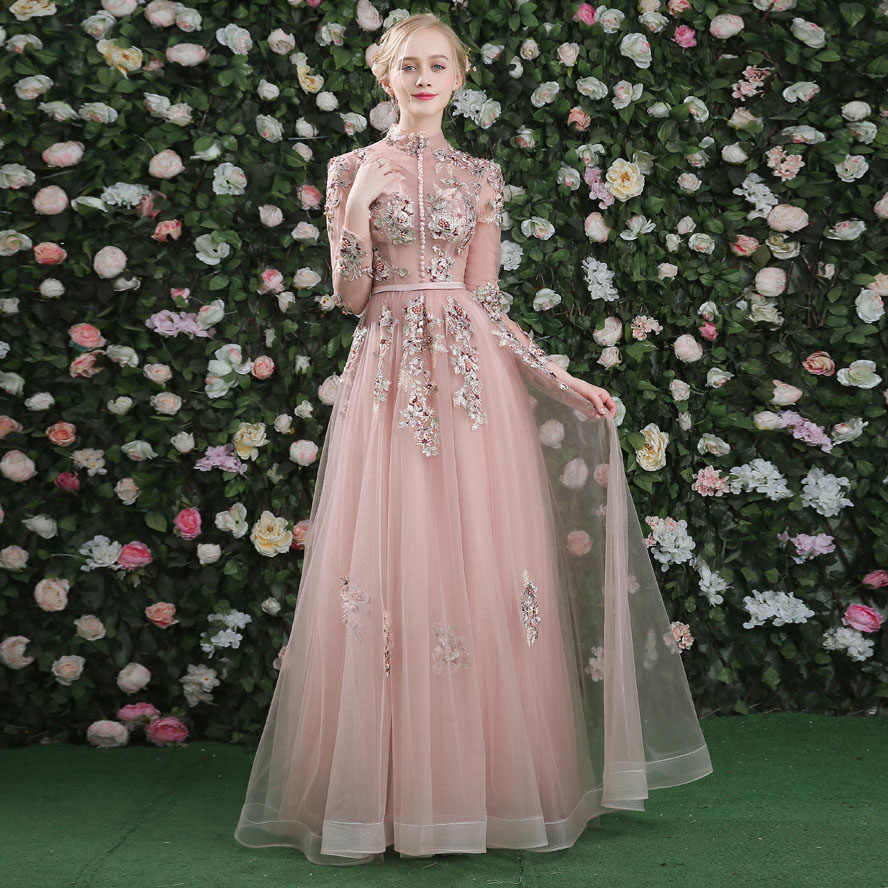 54647579b49 ... Stand Collar Embroidered Long Evening Gowns Align Ground Length Dress  Elegant Bare Pink Hollow Gauze Women ...
