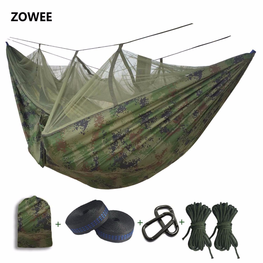 Portable Hammock High Strength Parachute Fabric Hanging Bed With Mosquito Net For Outdoor Camping Travel FREE SHIPPING цена