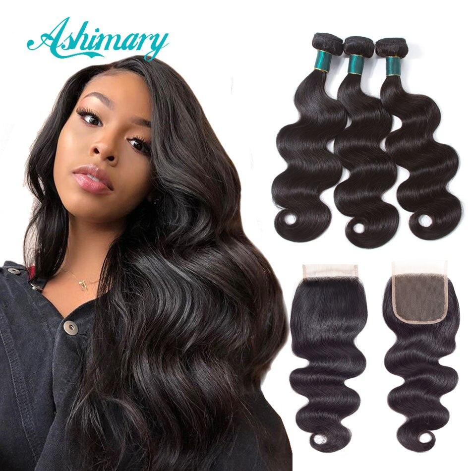 Ashimary Brésilienne Corps Vague Bundles avec Fermeture 4x4 Partie Libre de Cheveux Humains Bundles avec Dentelle Fermetures Remy Cheveux naturel Couleur