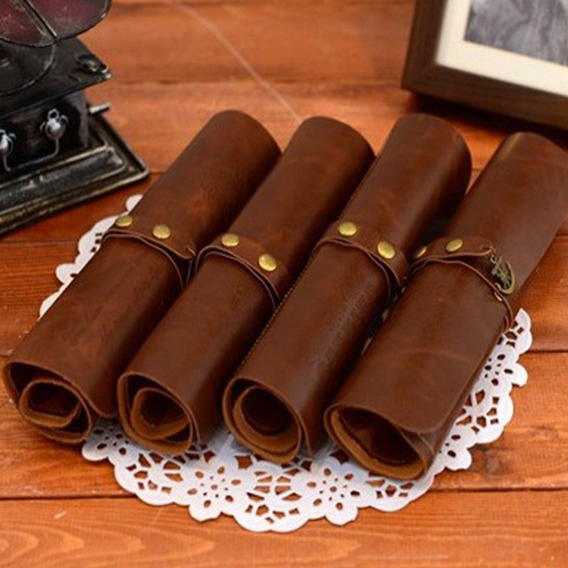 Vintage leather pencil case for boys girls school pencil bag pencil-case school supplies pencil cases snack pencil case
