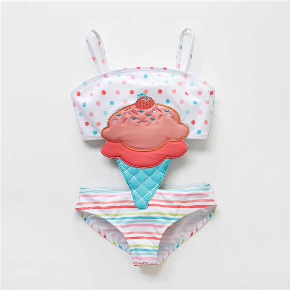 Горячая летняя девочка милый мультфильм купальник с животным принтом одна штука 2019 полосатый пэчворк дети пляжная одежда для девочек Купальник 12 м-8 т детский купальный костюм