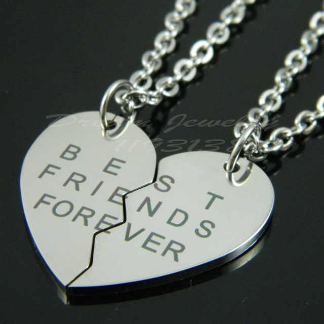 new design broken heart 2 parts best friends forever logo 316l