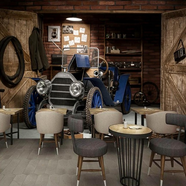 Car Garage Loft Retro Style: Custom Mural Vintage Series Wallpaper Theme Cafe Bar