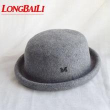Зимняя коллекция серый оттенок шляпа-котелок из шерстяного войлока шапка женские шляпы-федоры женские шляпы BMDW026
