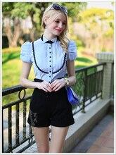 Original 2016 Brand Shirt Woman Summer Slim Casual Elegant Short Sleeve Women Blouse Wholesale