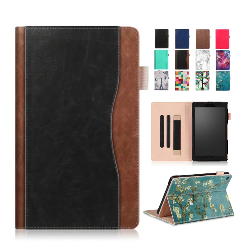 For Amazon New Fire HD8 2017 PU Leather Case Cover Colorful Print Protective Stand For Amazon New HD8 HD 8 2016 Smart Skin Funda mediapad m3 lite 8 0 skin ultra slim cartoon stand pu leather case cover for huawei mediapad m3 lite 8 0 cpn w09 cpn al00 8