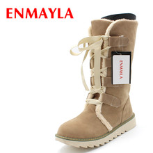 ENMAYER new 2015 Round Toe Lace-Up Mid-Calf snow boots for women platform winter boots fashion beautiful girls shoes size 34-43 недорого