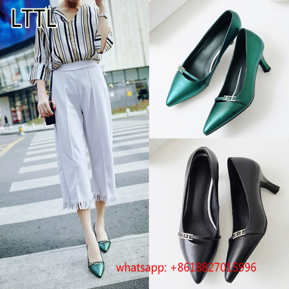 ФОТО Sexy Pointed Toe Women Pumps Shallow Dress Wedding Shoes Women Metal Decor Green Black Ladies Leather Shoes Zapatos Mujer