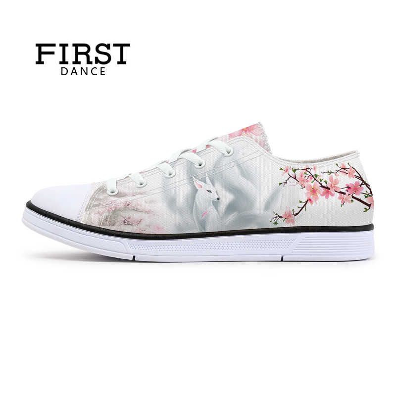 e29a310cd4 FIRST DANCE Fashion Women Fox Spirit Printed Shoes Classic Canvas Pattern Female  Shoes White Floral Walking