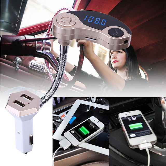Brand Bluetooth Car kit FM Transmitter MP3 Music Radio Player Mobile phone calls LED display double USB Car Charger car styling