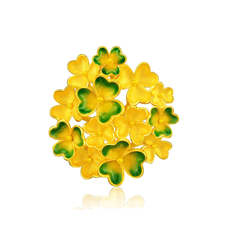 New Arrival 24K Yellow Gold Pendant Women Green Flower Necklace Pendant 8.83gNew Arrival 24K Yellow Gold Pendant Women Green Flower Necklace Pendant 8.83g
