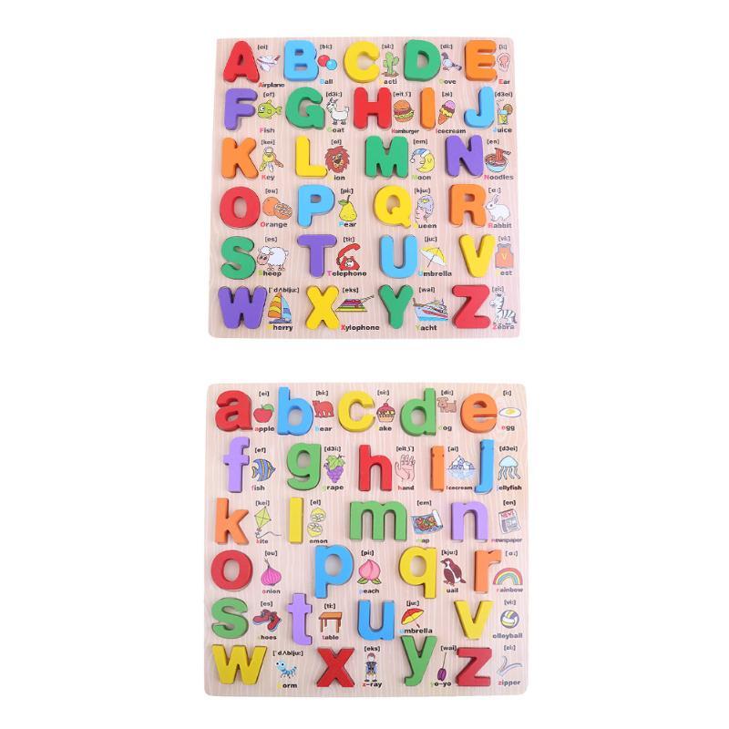 Дети Деревянный Алфавит английские буквы головоломки детские развивающие (верхний регистр) Алфавит Английский Письма Паззлы игрушка