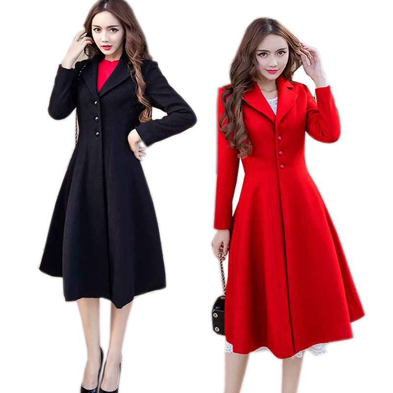 2017 Fashion Ladies elegant woolen coat winter pinched waist big bottom cultivating trench coat outwear overcoat Plus size XXXXL