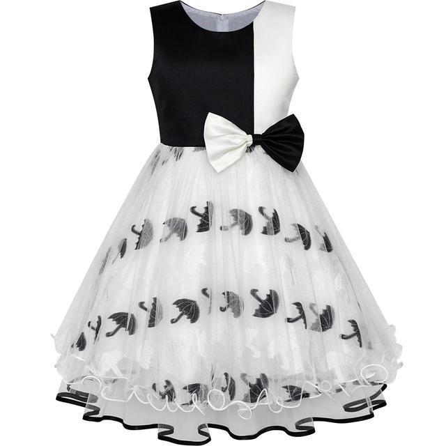 Flower Girl Dress Bow Tie Black White Color Contrast Umbrella