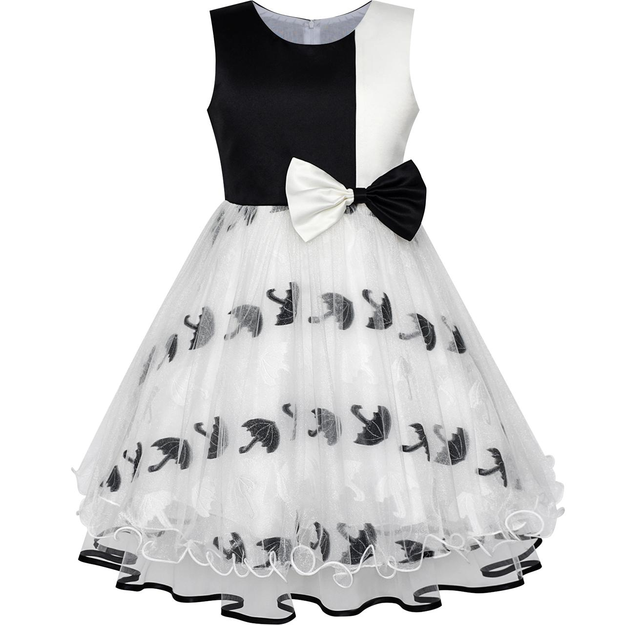 Sunny Fashion Flower Girl Dress Bow Tie Black White Color Contrast Umbrella Sundress 2018 Summer Princess Wedding Size 4-12 lit decorative cotton bow tie necklace for pet dog white black size m