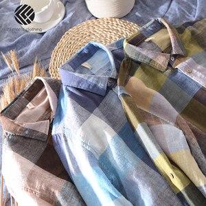 Image 4 - 男性春と秋のファッションブランド中国カラフルなチェック柄のコットンリネン長袖シャツ男性カジュアル薄型シャツ