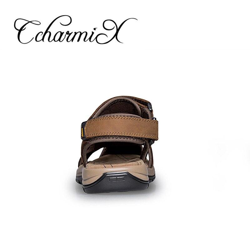 CcharmiX Mens Gladiator Sandal Male Sandals Genuine Leather Flat Shoe Black  Brown Men Footwear Outdoor Summer Dress Man Sandles-in Men s Sandals from  Shoes ... b5c6b2244083