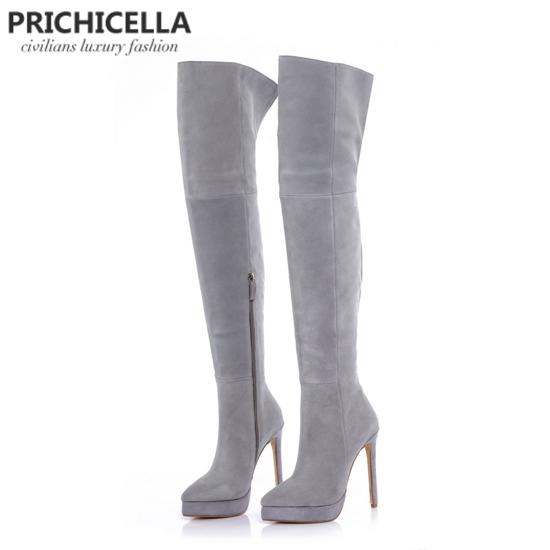 PRICHICELLA 14cm stiletto high heel grey suede platform thigh high riding boots over the knee booties
