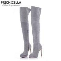 PRICHICELLA 14 см стилет высокий каблук Серый Замша Платформа бедра высокие сапоги для верховой езды выше колена пинетки size34 42