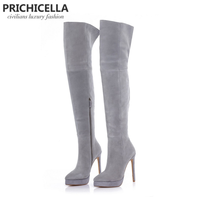 3eca0c4d6 PRICHICELLA 14 cm estilete sapatos de salto alto plataforma de camurça  cinza coxa alta botas de